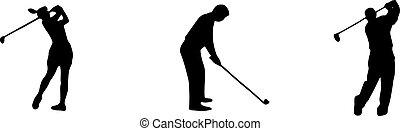 háttér, fehér, elszigetelt, ikon, golf