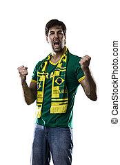 háttér., fehér, rajongó, misét celebráló, brazíliai