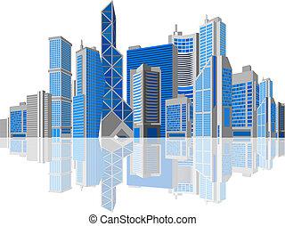 háttér., fehér, theme., ügy, felhőkarcoló