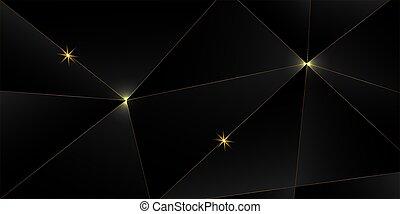 háttér., fekete, arany-, arany, háromszögű, transzparens, fényűzés, királyi, ezüst