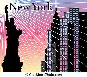háttér, felhőkarcoló, vektor, york, új