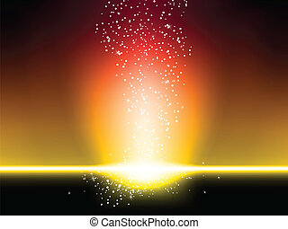 háttér, felrobbanás, sárga, csillaggal díszít, piros