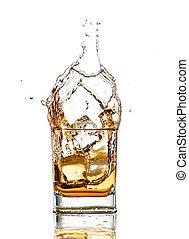 háttér, fröcskölő, elszigetelt, whisky, pohár, white out