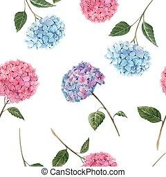 háttér., gyönyörű, virágos, vízfestmény, vektor, illustration., seamless, hortenzia, részvény, motívum, flowers.