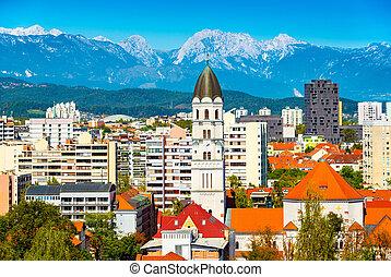 háttér, hegyek, slovenia, ljubljana, panoráma, festői