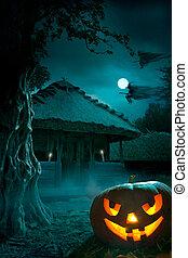háttér, helyett, egy, fél, képben látható, halloween éjszaka