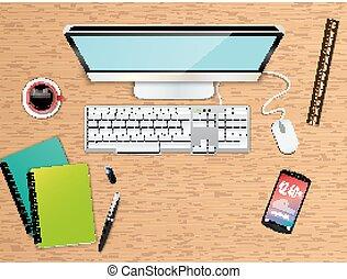 háttér, hivatal, tető, ügy, workspace, kilátás