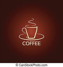 háttér, ikon, csésze, tervezés, kávécserje