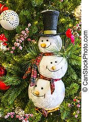háttér, közül, karácsonyfa, noha, hóember, játékszer