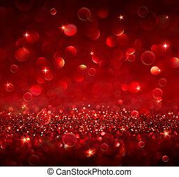 háttér, -, karácsony, csillogó, piros