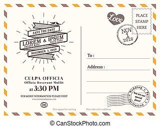 háttér, levelezőlap, szüret, esküvő, vektor, sablon, meghívás