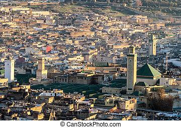 háttér, mecset, fénykép, marokkó, fes
