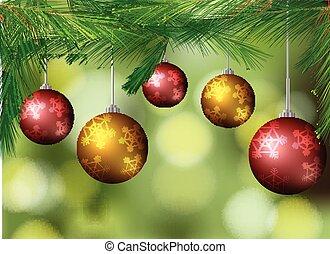 háttér, noha, karácsony, herék, képben látható, a, fa