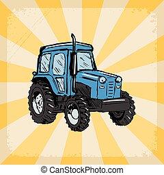 háttér, noha, traktor