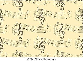 háttér, noha, zene, hangjegy.