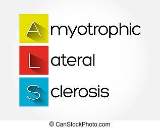 háttér, oldalsó, orvosi, amyotrophic, mint, fogalom, -, szklerózis, betűszó