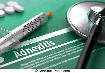 háttér., orvosi fogalom, zöld, adnexitis.