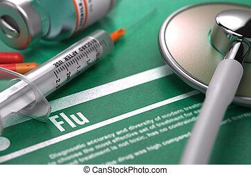 háttér., orvosi fogalom, zöld, flu.