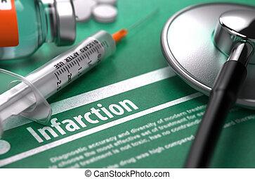 háttér., orvosi fogalom, zöld, infarction.
