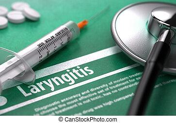 háttér., orvosi fogalom, zöld, laryngitis.