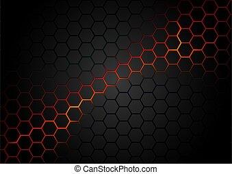 háttér példa, hatszögű, piros, magma, fekete