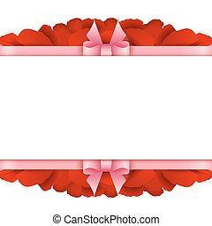 háttér., rózsa, valentines, szirom, fehér, határ, nap, kártya
