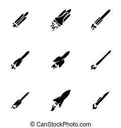 háttér, rakéta, elszigetelt, állhatatos, fekete, téma, fehér, ikonok