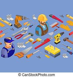 háttér, seamless, isometric, eszközök, vektor, munkás, pattern.
