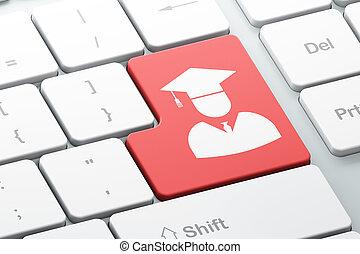 háttér, számítógép, diák, billentyűzet, oktatás, concept: