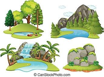 háttér, színek, noha, erdő, és, vízesés