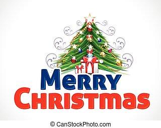 háttér, szöveg, fa, ábra, vektor, vidám christmas