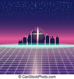 háttér, város, neon, tervezés, táj, sci-fi, 90, elszigetelt, retrowave, retro, sablon, 80, synthwave, alapismeretek, csillaggal díszít, ábra, space., nap, címzett, grid., lézer, vektor, futuristic