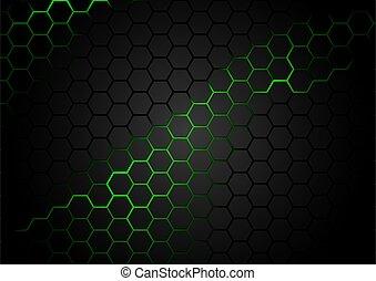 háttér, zöld, magma, hatszögű, motívum, fekete