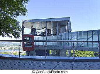 ház, épület, helyett, a, antenna, tram.