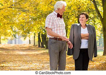 házasság, liget, öregedő