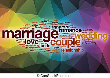 házasság, szó, felhő, noha, elvont, háttér