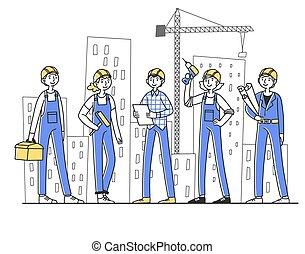 házhely, építők, dolgozó, szerkesztés, befog