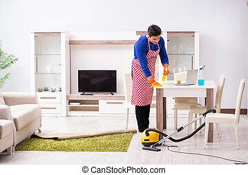 házimunkák, épület, ember, takarítás, szállító