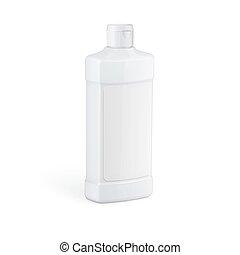 háztartás, fehér, chemicals., palack, műanyag