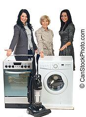 háztartás, három, értékesítések, eszköz, kiállítás, nők