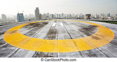 háztető, város, helikopter repülőtér