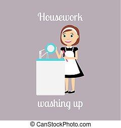 házvezetőnő, nő, mosakszik