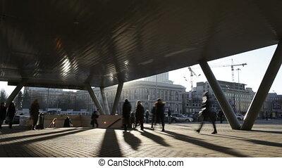 hâte, temps, city., lapse., gens