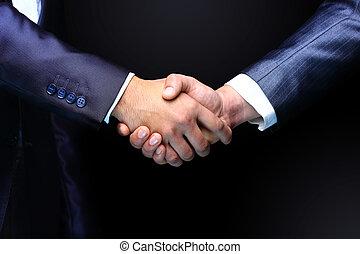 hã¤ndedruck, -, hand holding, auf, schwarzer hintergrund