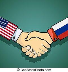 hã¤ndedruck, von, zwei, leute., politik, zwischen, der, usa, und, russia., stoc