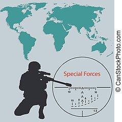 häfte, map..eps, värld, styrkor, speciell, krypskytt