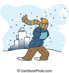 häftig snöstorm