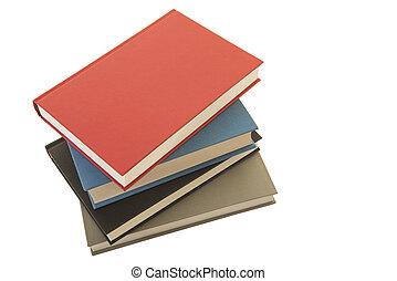 häftklammer, av, fyra, böcker, sett, från, en, hög ståndpunkt se, isolerat, på, a, vit fond