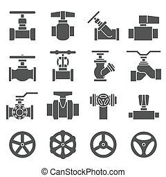 hähne, ventil, satz, ikone
