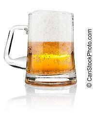 hälfte, becher, bier, mit, bierschaum
